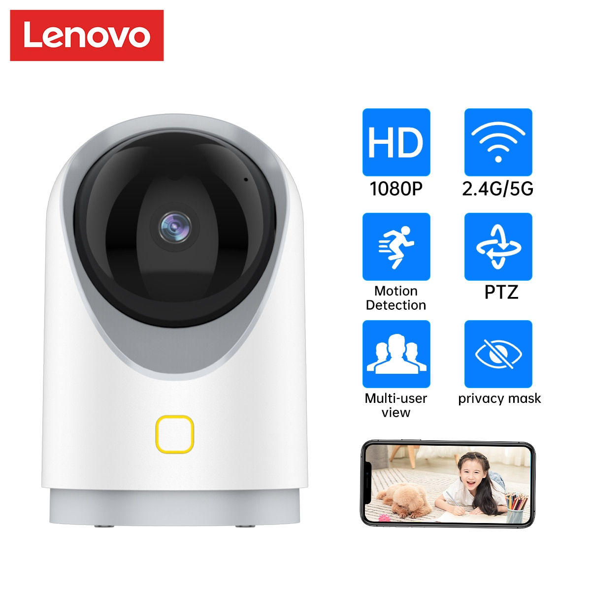 Lenovo 2.4G/5G Wifi Camera 1080P Security Camera Wireless CCTV Camera Surveillance P2P Baby Monitor  For Home Security