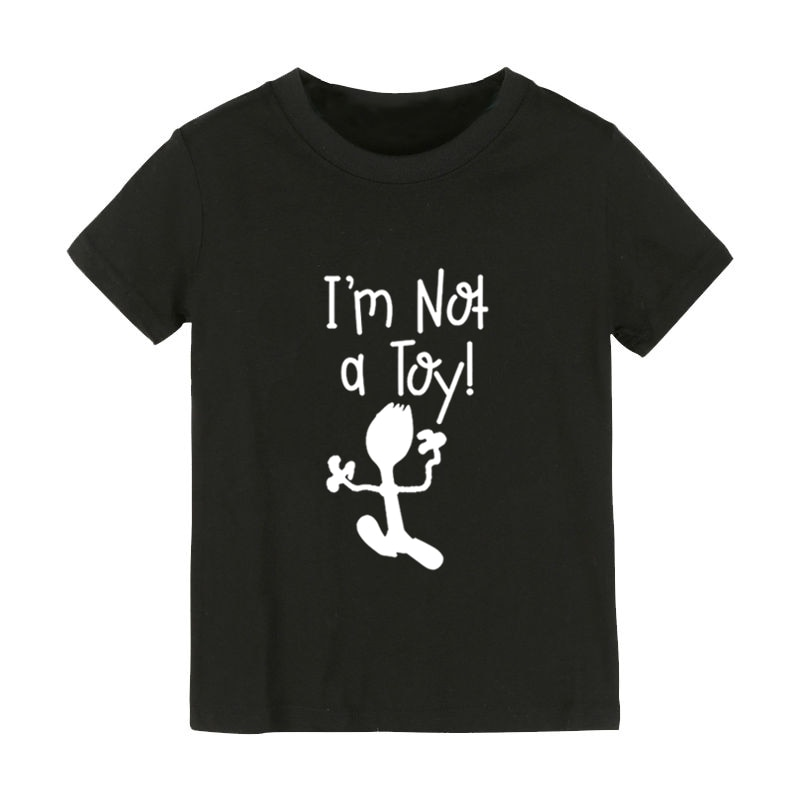 Eu não sou um brinquedo impressão crianças camiseta menino menina crianças roupas da criança engraçado rua topo t CZ-160