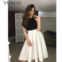 yunuo cheap sexy a line halter backless white and black simple satin short prom dresses n31