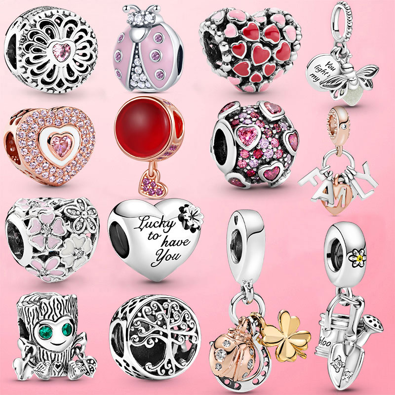 beautiful sailor moon crystal bracelet 925 silver bangle charms anime cosplay jewelry for girls women card captor sakura HOT! 925 Sterling Silver Ladybug Heart Daisy Flower Charms Beads Fit Original Pandora Bracelet Bangle For Women Jewelry Gift
