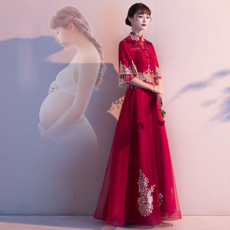 formal Chinese Wedding Dress Three Quarter High Waist Lace Mesh Dress Mandarin Collar Design Dress For Pregnant Woman ZL629 enlarge