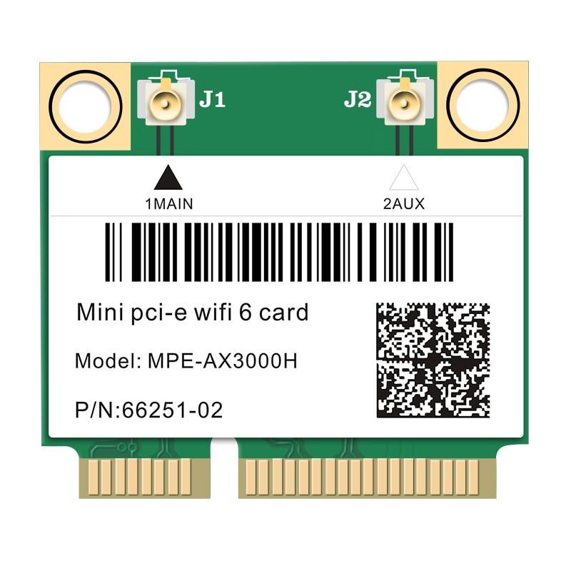 2974Mbps Wifi 6 Dual Band Wireless Half Mini PCI-E Network Wlan Wifi Card Bluetooth 5.0 802.11ax/ac