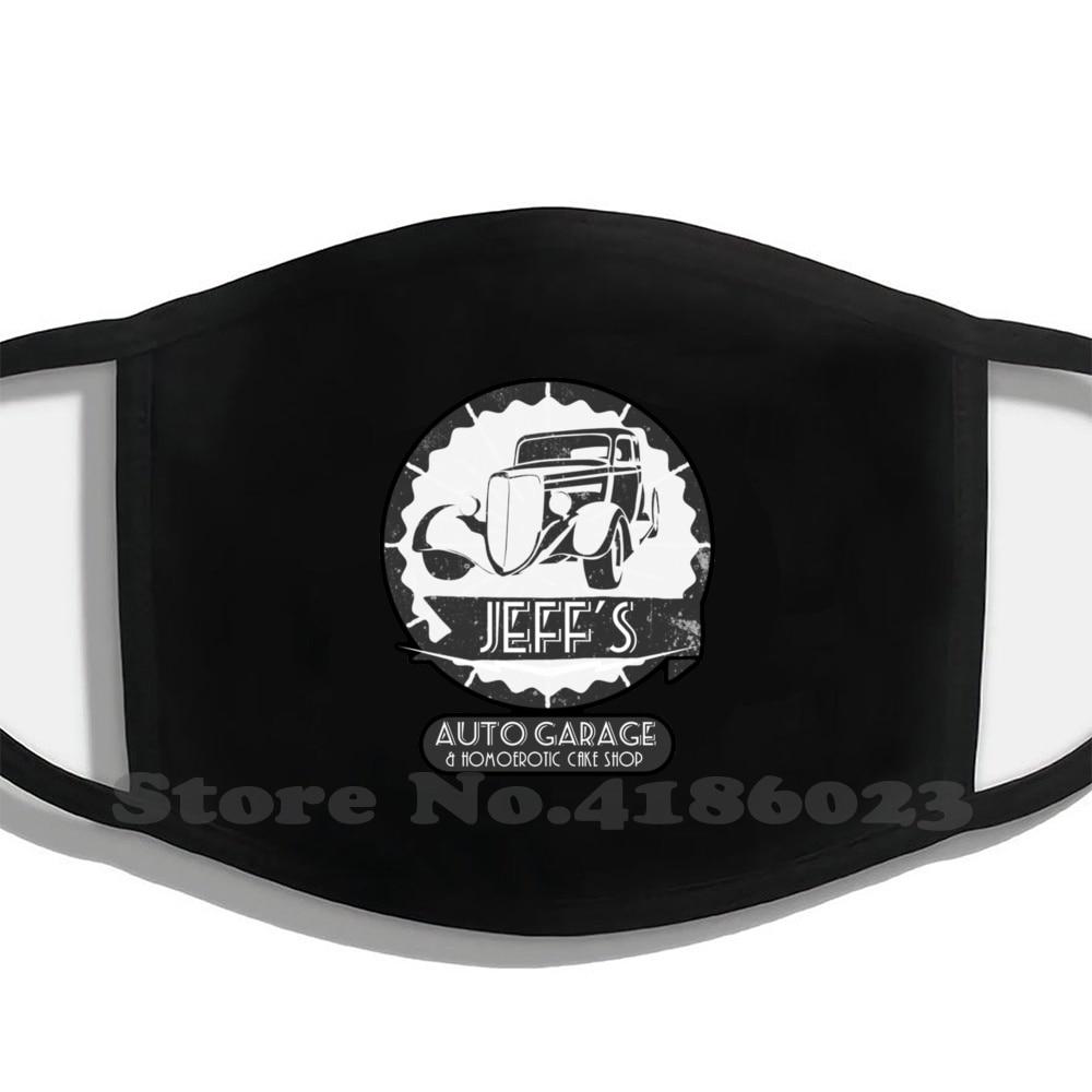 Jeff'S Auto Garage & Homoerotic Cake Shop Diy Adult Kids Mouth Mask Jeff Cupcake Bakery Job Company Business Fun Logo Garage