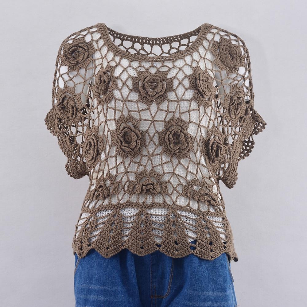 hollow out crochet insert frill top Women Crochet Top Shirt Summer Hollow Out Crochet Flower Bikini Cover Shirt O Neck Pullover Short Sleeve Top Shirt For Female