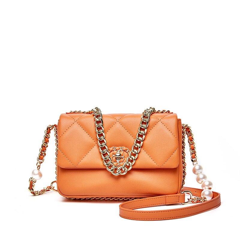 اللؤلؤ حقائب كتف Crossbody للنساء حقيبة سلسلة الإناث حقيبة حقائب سيدات جلد طبيعي فاخر امرأة منقوشة حزام البرتقال