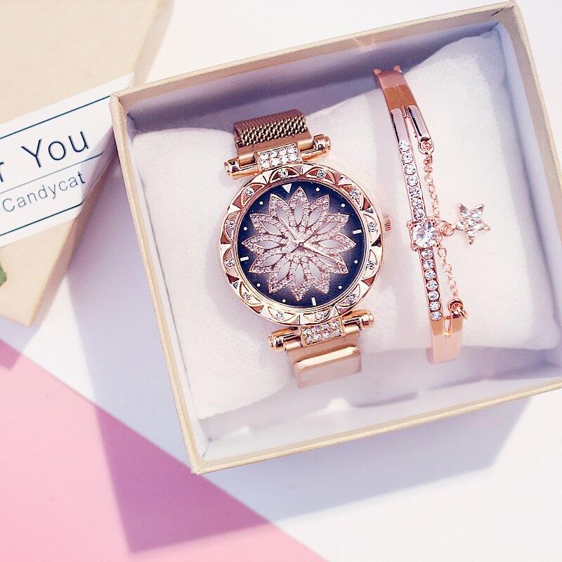 مجموعة الساعات المغناطيسية الفاخرة للنساء أزياء السيدات محظوظ سطح هندسي ساعة كوارتز Reloj Zegarek Damski