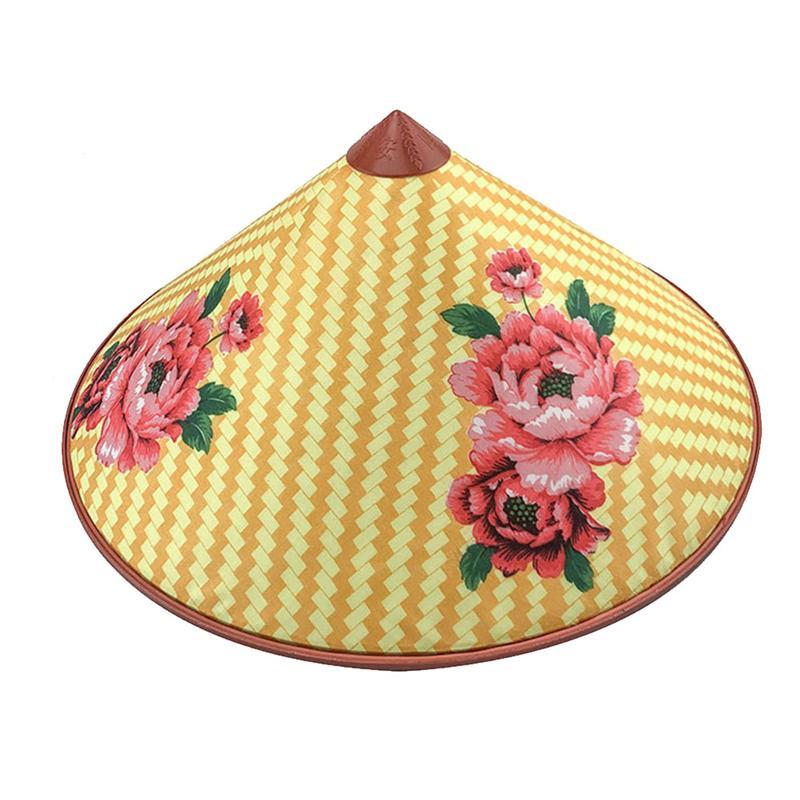 Sombrero de bambú Coolie, sombrero asiático, sombrero de arroz, sombrero chino, gorro de granjero, sombrero cónico para fiesta, gorra de bambú para granjero (estilo aleatorio)
