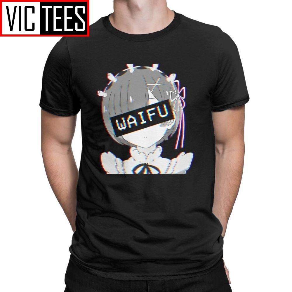Rem Waifu hombres camisetas japonesas loli lindo Sexy Vaportrash camisetas novedad Tops manga corta Camiseta de algodón puro camisa diseño