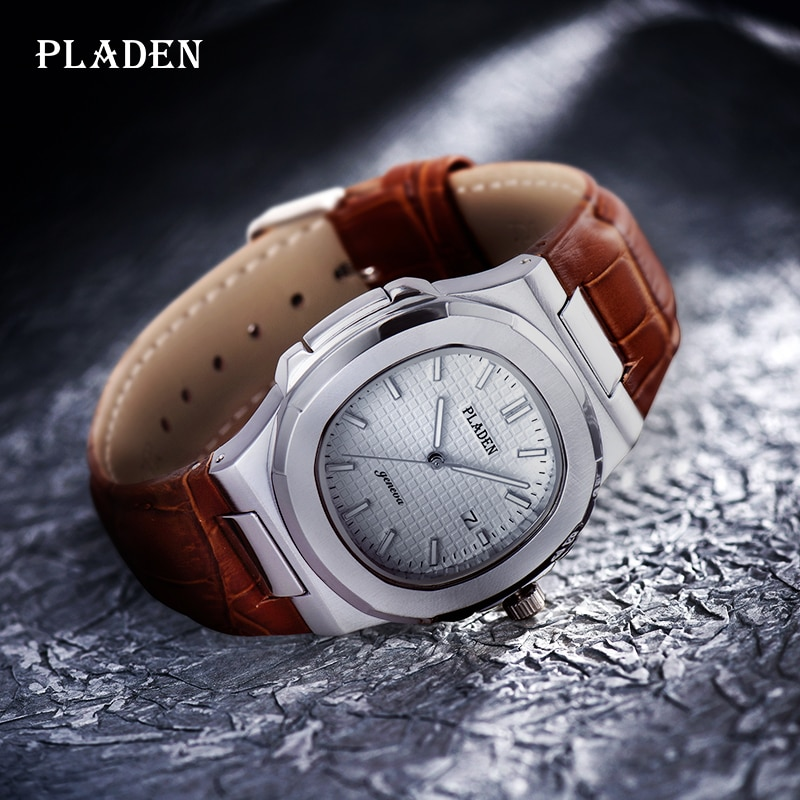 Фото - Free Shipping Men Watch PLADEN Top Brand White Dial Leather Quartz Watches Luxury Fashion Waterproof Sport Military Clock 2021 2021 new sport travel lover watches carnival red digital clock gift for men waterproof electronics offers with free shipping