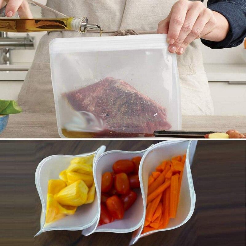 Bolsa de almacenamiento para cocina, reutilizable a prueba de fugas, bolsa de almacenamiento para comida, nevera, bolsa para mantener los alimentos frescos, aperitivo libre de BPA, bolsa con cierre hermético para maquillaje de fruta seca