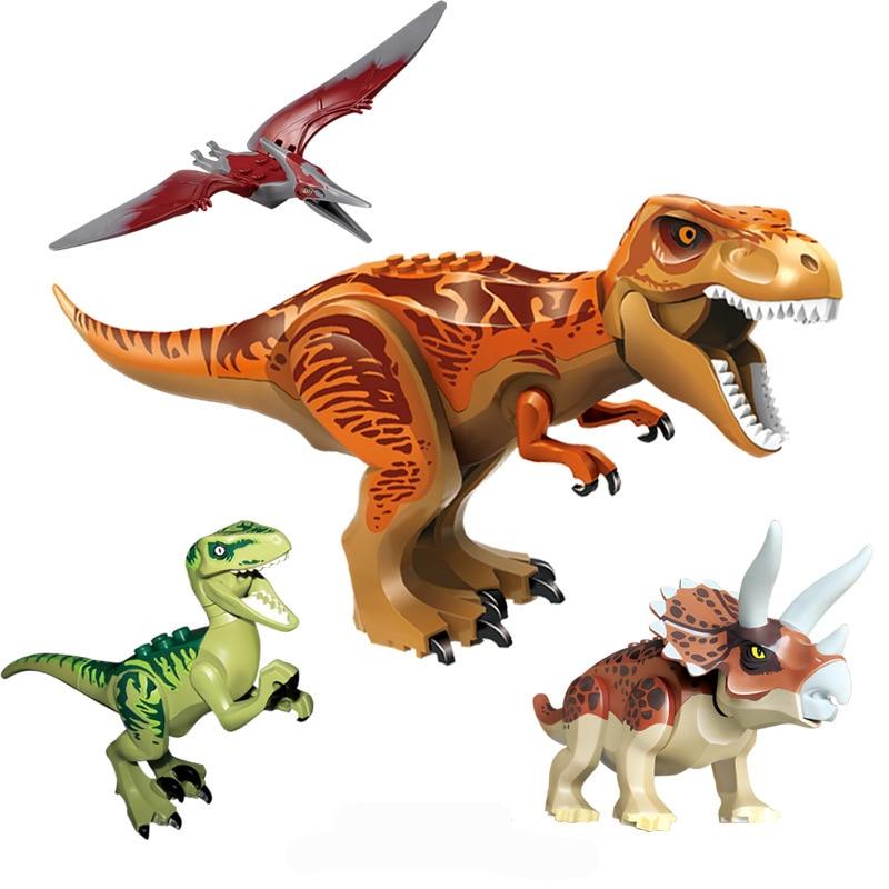 New 4Pcs Jurassic Dinosaurs Figures Bricks Tyrannosaurus Indominus Rex I-Rex Assemble Building Blocks Kid Toy Dinosuar Gift недорого