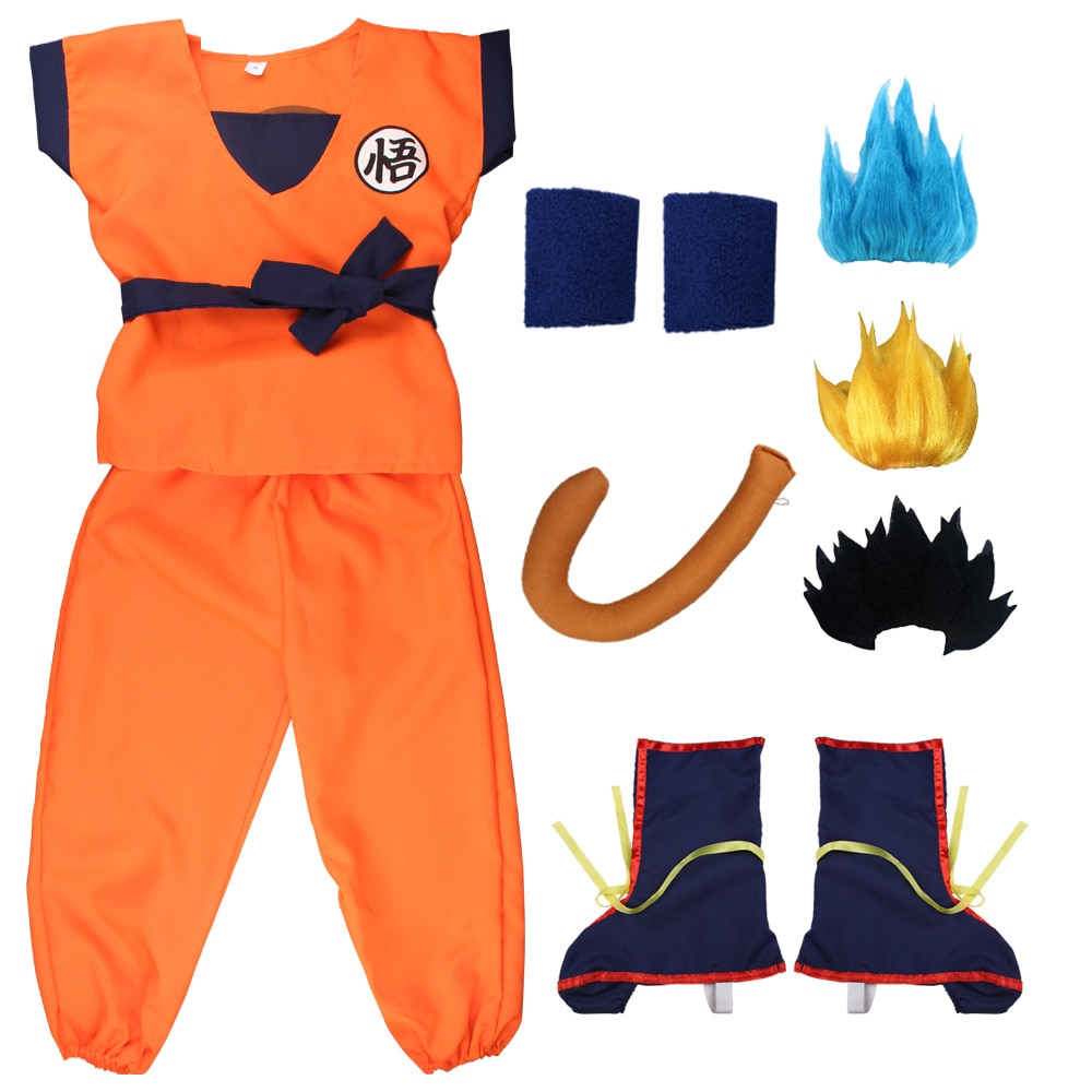 Halloween Christmas Son Goku Turtle Blue Wig Shoes Cosplay Costume Boys Adult Costume For Kids New Year Party Dress Up