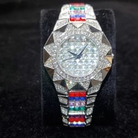 hip hop missfox iced out color baguette diamond mens watches quartz silver micro paved personality steel watch for mens jewelry