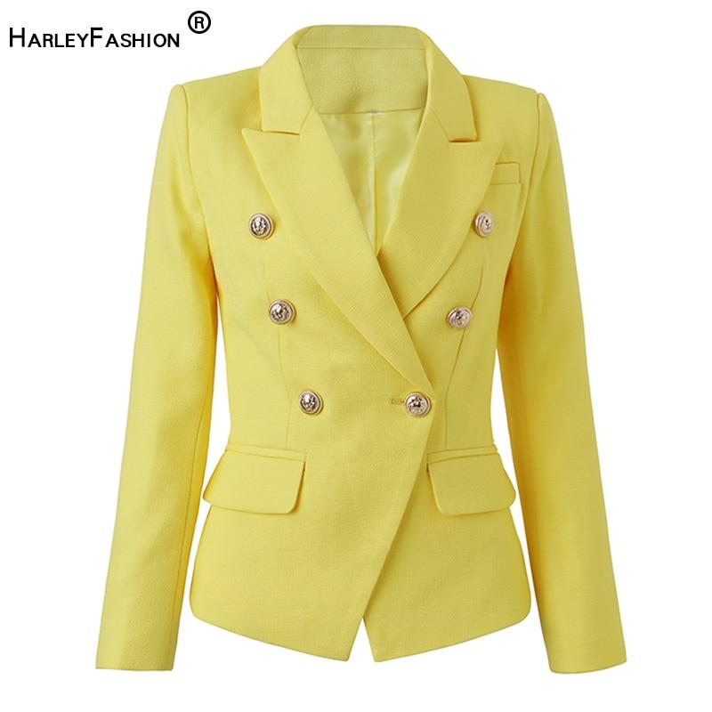 HarleyFashion مصمم الأوروبي العصرية عالية الشارع مزدوجة الصدر الحلوى الأصفر المرأة المجهزة السترة