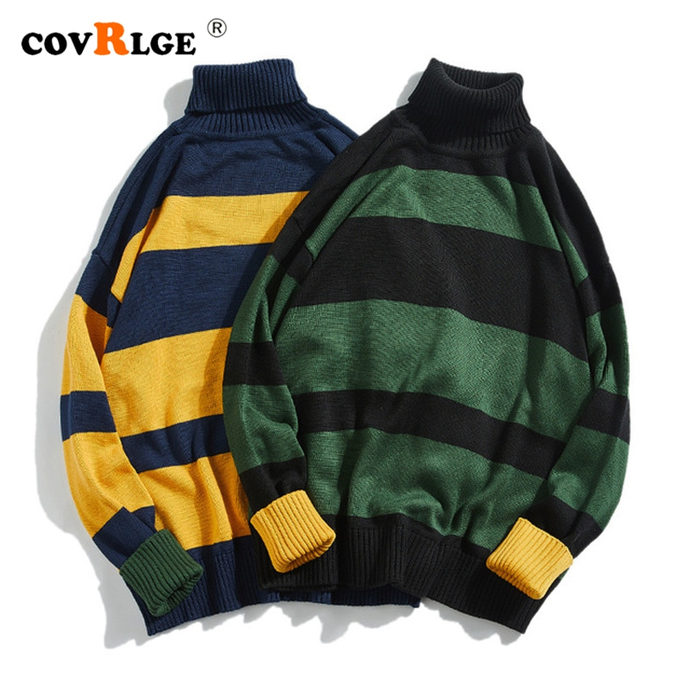 contrast striped pullover sweater Covrlge Striped Contrast High-neck All-match Men's Sweater Autumn 2021 Korean Pullover Harajuku Street Couple Sweater MZM122