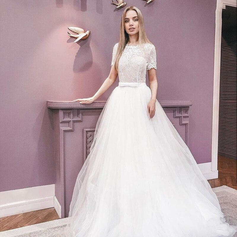 Get Luxury Wedding Dresses A-Line O-Neck Short Sleeves Tulle Floor-length Backless Appliques Bow Sash Bridal Gowns Robe De Mariée