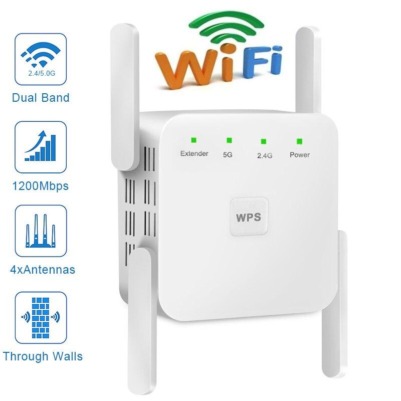 WiFi repetidor inalámbrico Wifi extensor 2,4G 5G WiFi de 300Mbps, 1200 Mbps 5ghz WiFi señal de largo alcance Wi-Fi amplificador
