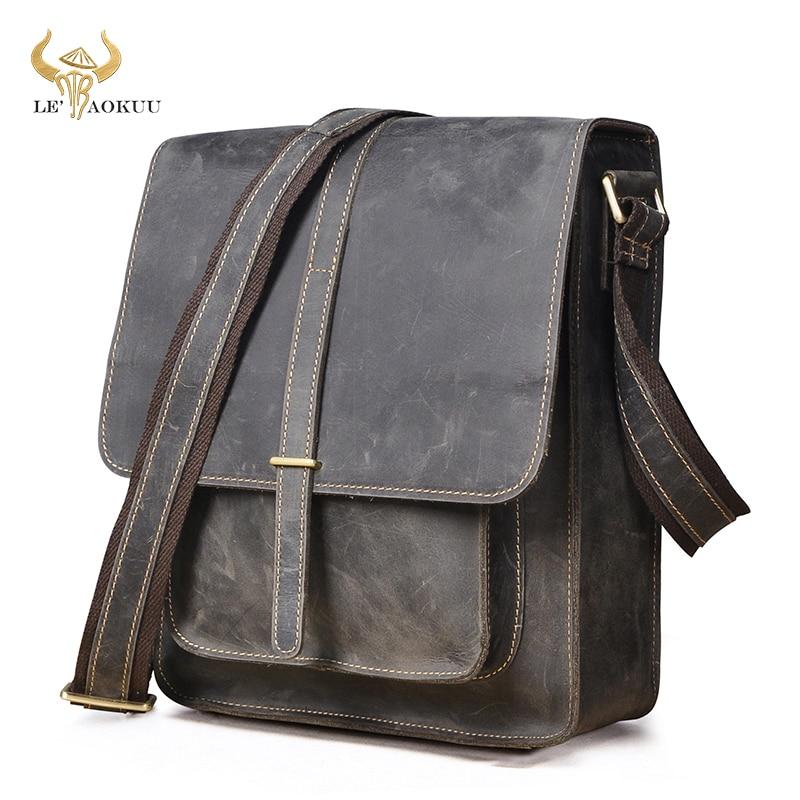 Crazy Horse Leather Male Design Vintage Gray Shoulder Messenger Crossbody bag Vintage Satchel Colleg