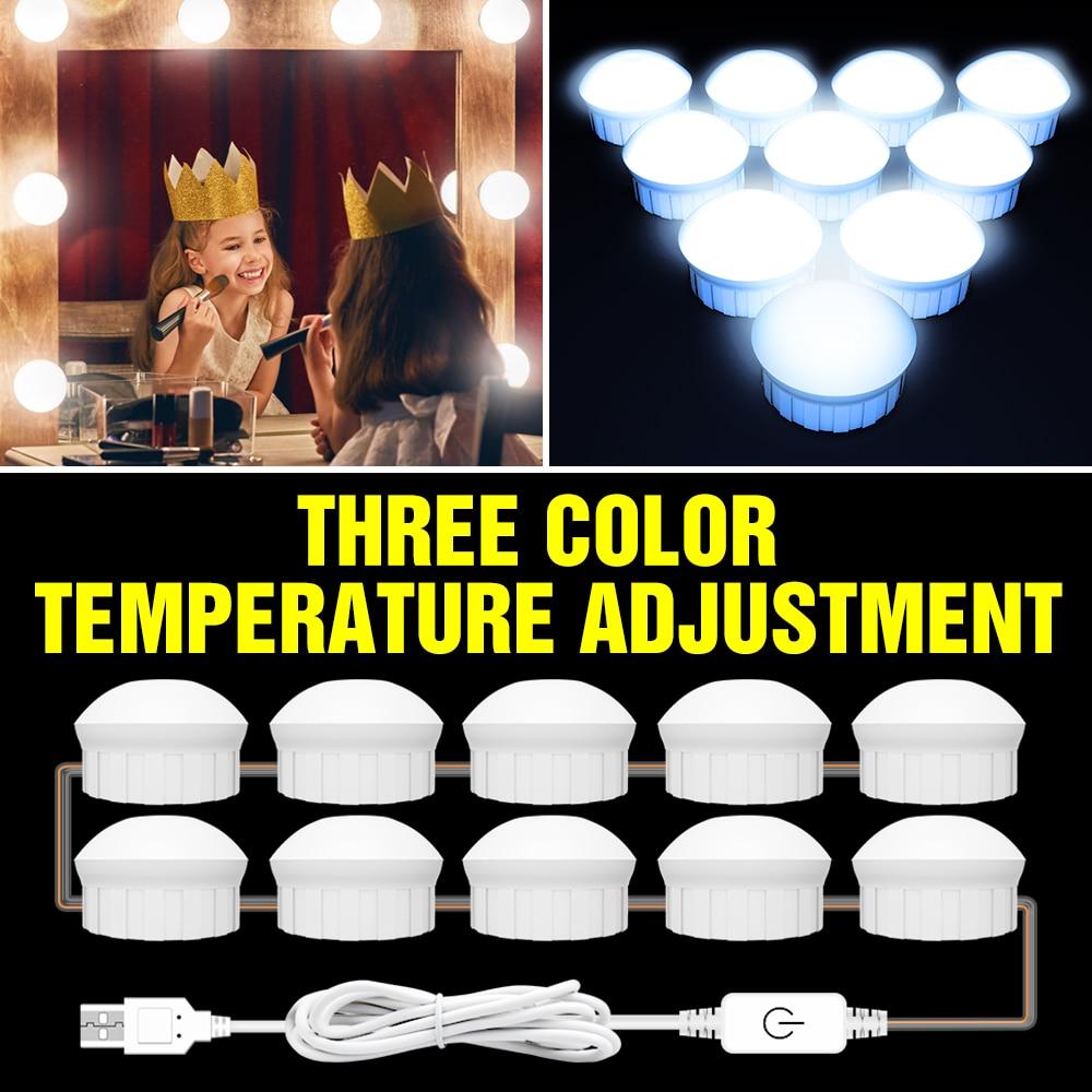 oufula led vanity mirror light usb hollywood style usb 3 colors waterproof USB 12V LED Makeup Mirror Light Bulb 2 6 10 14 pcs Bulbs Kit Touch Dimmable 3 Colors Hollywood Dressing Table Vanity Mirror Lamp