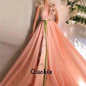 Orange High Slit Evening Dresses V Neck Applique Belt Special Occasion robe soiree Islamic Dubai Kaftan Saudi Arabic Prom Gown