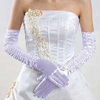 new white ivory red black cheap full fingers gloves satin wedding bridal gloves opera length gloves wedding accessories