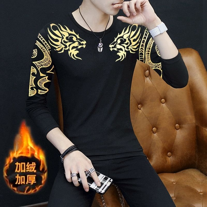 Autumn and winter new printed golden dragon plus velvet thick warm long-sleeved T-shirt men's bottoming shirt tight-fitting clot