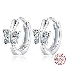 Cute solid 925 Sterling Silver white CZ Butterfly Stud Earrings For Women Child Girls Kids Bridal We