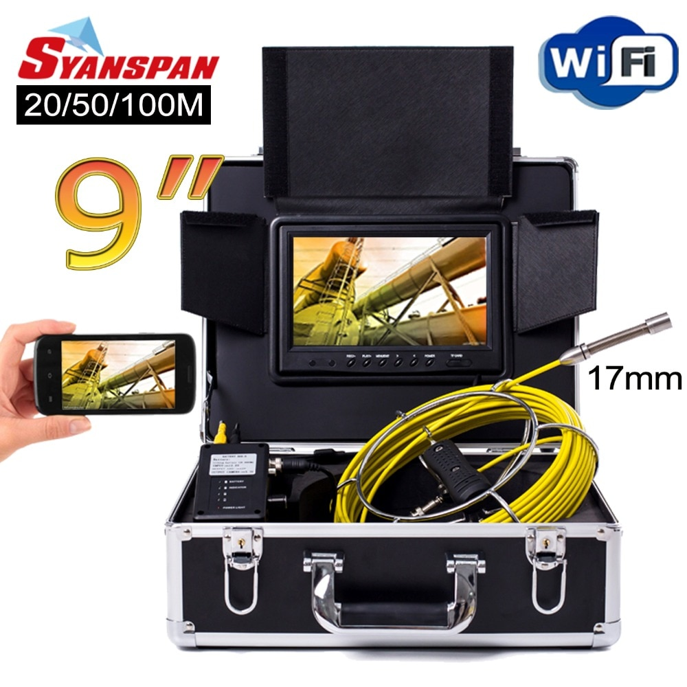 Get SYANSPAN 9″ WiFi 20/50/100M Pipe Inspection Video Camera,Drain Sewer Pipeline Industrial Endoscope support Android/IOS 17mm Cam