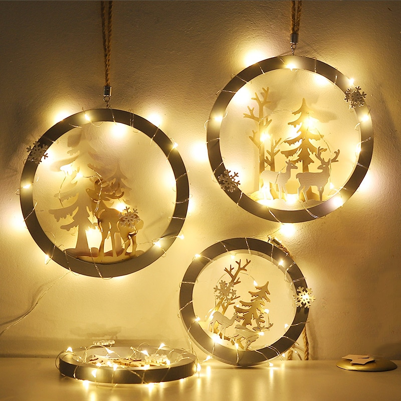 New Year Christmas Wooden Luminous Pendant Pendant Hanging On Christmas Tree Ornaments For Santa Claus Christmas Decorations недорого