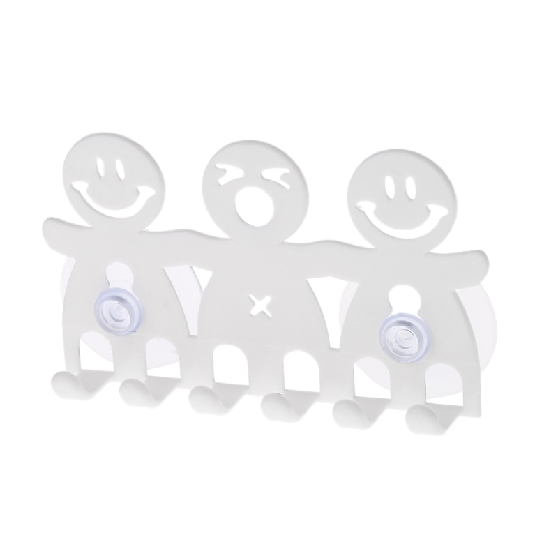 Toothbrush Holder Wall Mounted Suction Cup 5 Position Cute Cartoon Smile Bathroom Sets 652A