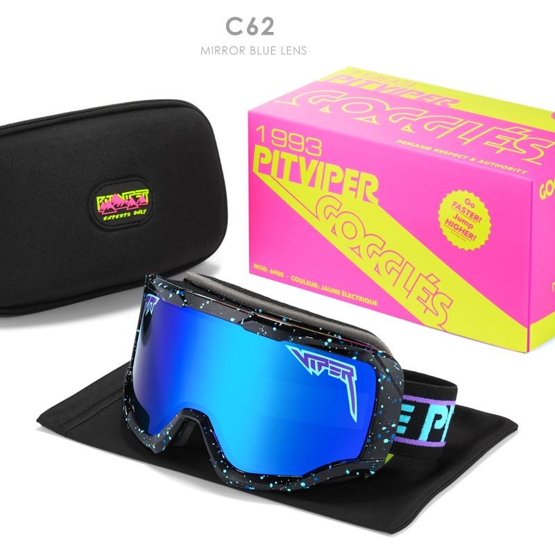 Pit Viper Ski Glasses Windproof Man Sunglasses Safety UV400 Goggle High-end Sports Winter Layers Anti-Fog Snowboard Glasses