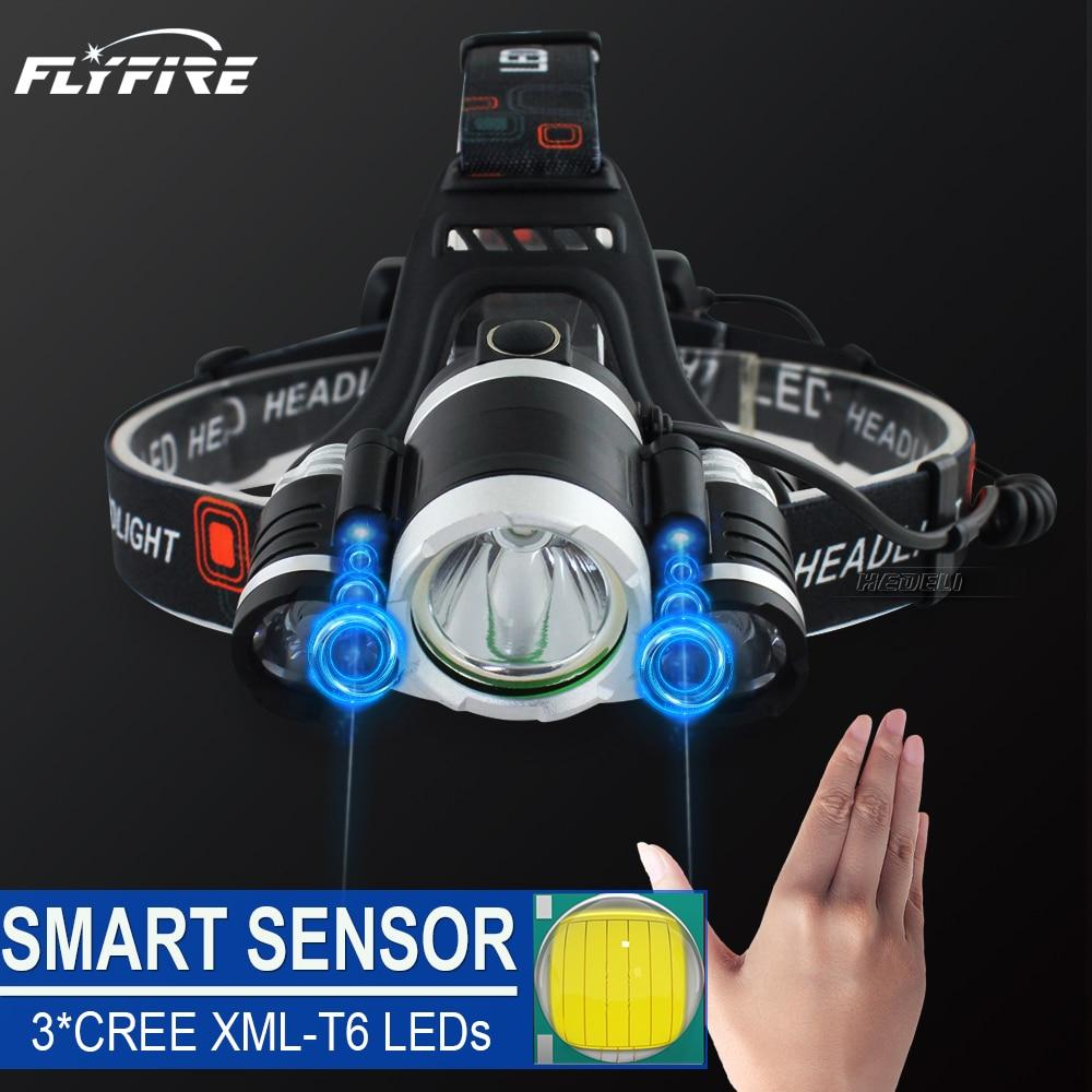 ir sensor led headlamp usb 3 t6 8000 lumen rechargeable head flashlight  torch xml lamp waterproof headlight 18650
