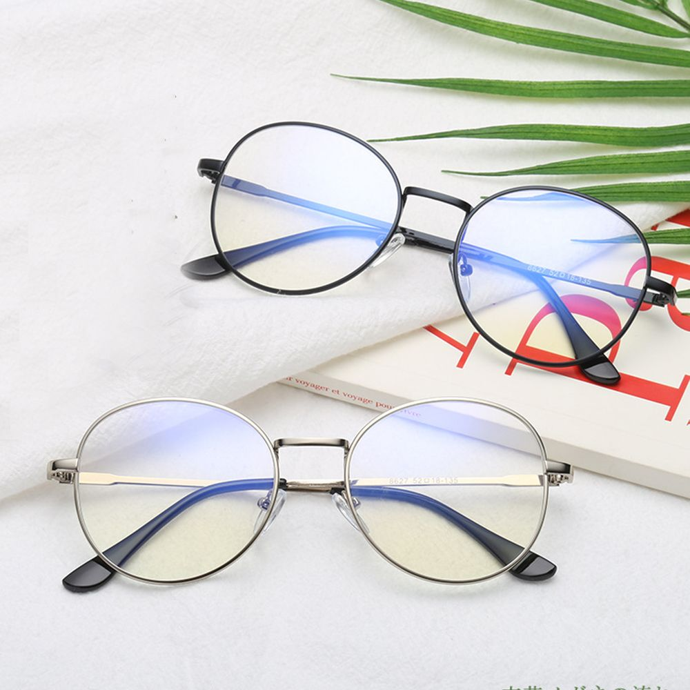 Vintage Metal Unisex Computer Round Frame Glasses Women Rays Radiation Eyewear Frame Anti Blue Light Circle Eye Glasses