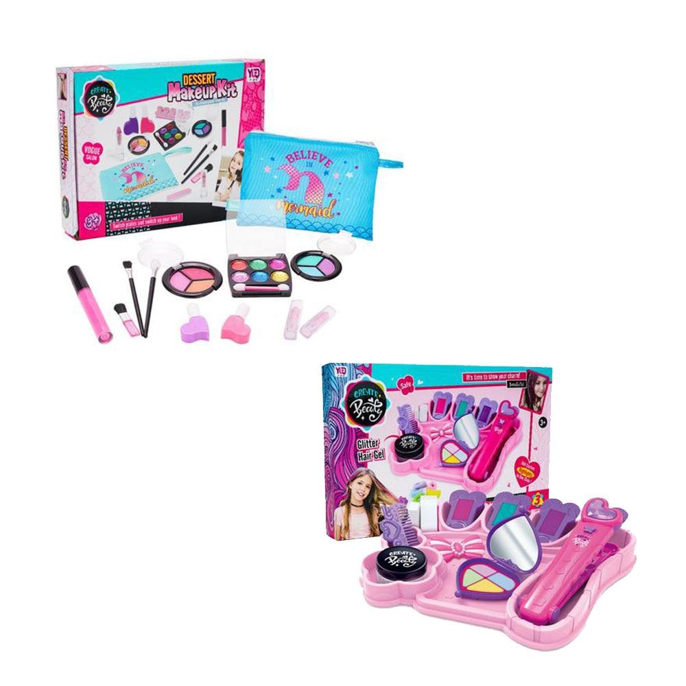Набор игрушек для макияжа для девочек, ролевые игры, принцесса, розовый макияж, безопасный нетоксичный Набор для красоты, игрушки для девоче...