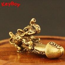 Solid Brass Elephant Male Genitalia Keychain Pendant Car Man Penis Pendants Key Chain Ring Hanging Funny Gift Jewelry Desk Decor