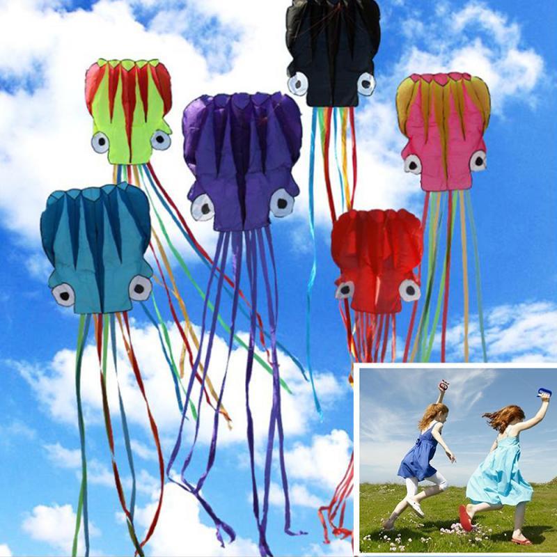 Nuevos juguetes al aire libre, cometa de pulpo, cometa plegable grande de 5,5 M, cometa plegable fácil de volar, cometa de pulpo grande plegable con 30m de cuerda voladora