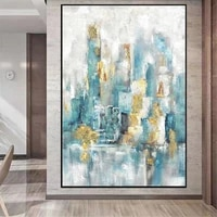 hand painted green dream city building poster landscape pictures for home abstract oil painting wall art for living room decor