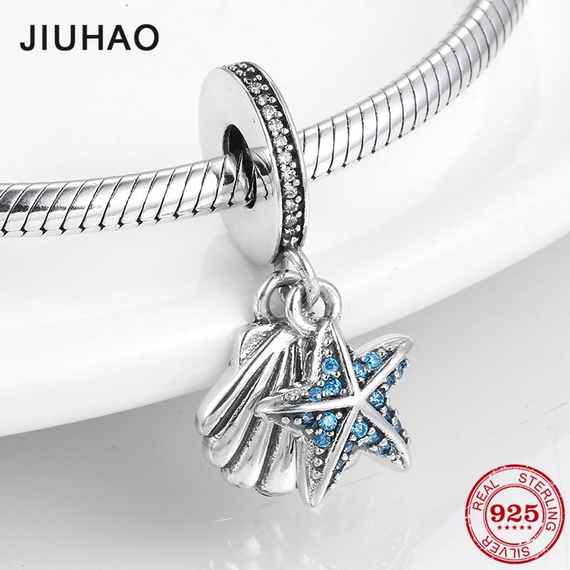 Hot 925 Sterling Silver Starfish and seashells Pendants Beads fit Pandora Bracelets Bangles DIY Jewelry Making 2019