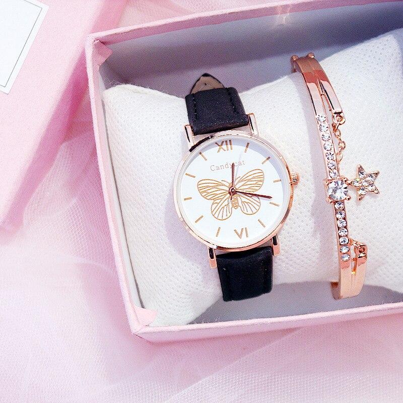 Reloj de pulsera con diseño de mariposa y cielo estrellado para mujer, relojes de lujo para mujer, reloj de pulsera de cuarzo de cuero informal, reloj femenino 2020