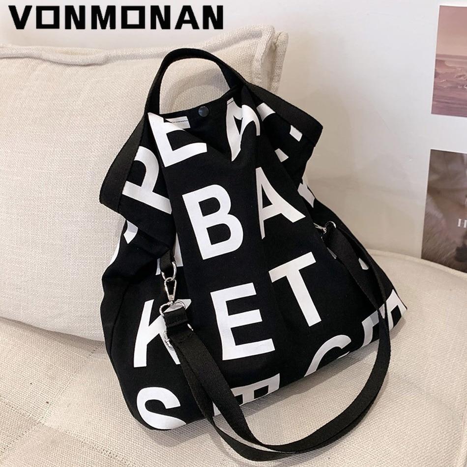 حقيبة كتف كبيرة من القماش ذات سعة كبيرة مصممة بالحروف ، حقيبة متسوق عبر الجسم للسيدات موضة صيف 2021 ، حقائب يد ومحافظ غير رسمية على الموضة