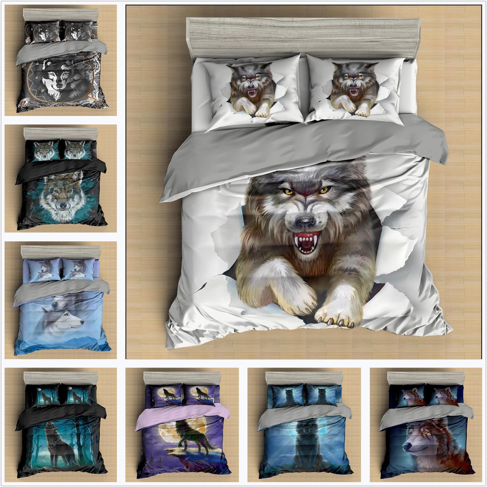 Juego de ropa de cama con estampado de lobo 3D de lujo, juego de edredón, ropa de cama textil para el hogar, fundas de edredón, juego de edredón