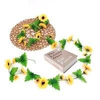 Fleur de soleil artificielle  fausse vigne de lierre verte  couronne de plantes en rotin pour decoration de jardin de maison et de mariage