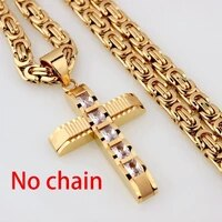 new retro cross shape pendant mens bohemian crystal inlaid sliding necklace pendant accessories party jewelry without chain