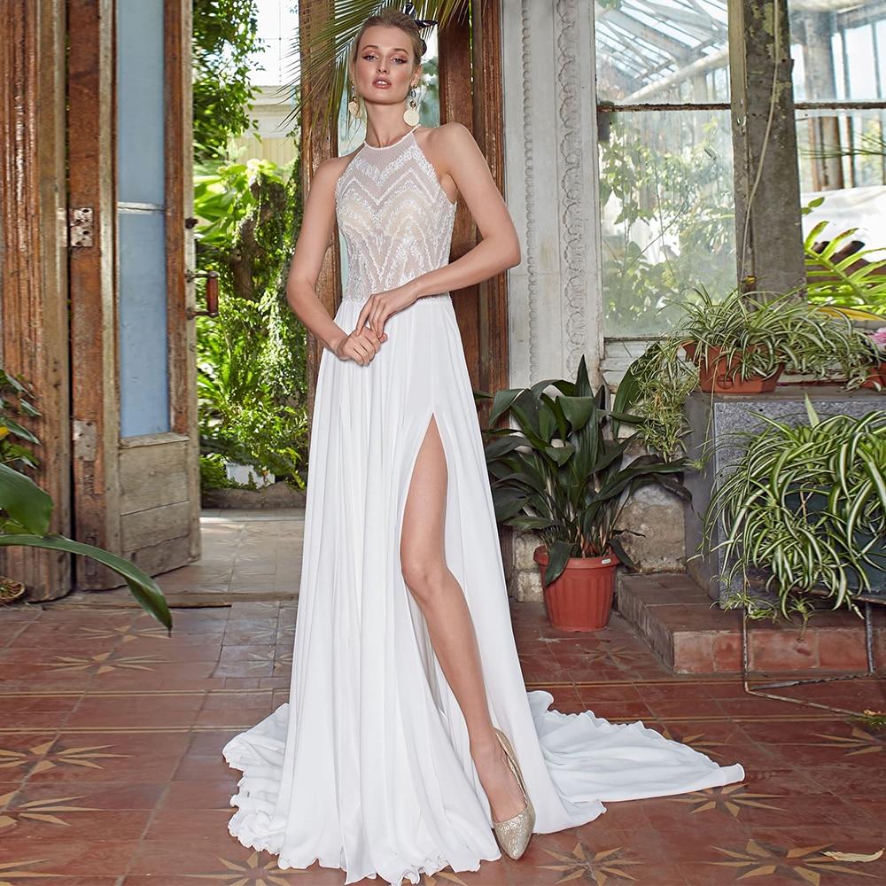 Promo Simple Chiffon Sweep Train Bridal Dresses A Line Halter Neck Slit Wedding Dress For Woman Rustic 2021 Illusion Vestidos De Novia