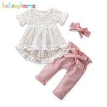 3 pièces 2020 été tenue infantile filles vêtements mode à manches courtes blanc T-shirt + rose pantalon + bandeau bébé vêtements ensemble BC1405-1