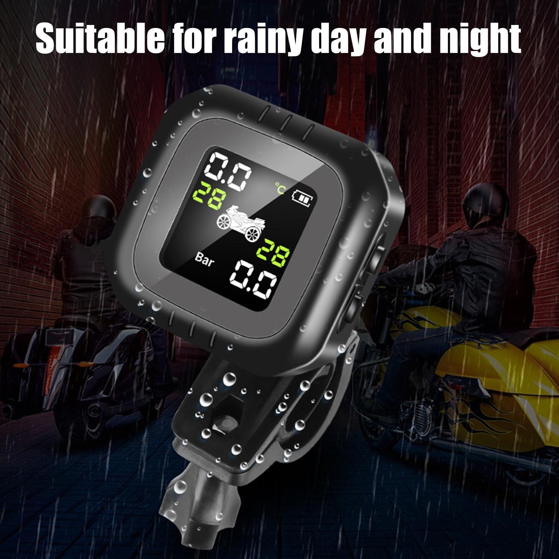 Herramientas de detección de Moto Sensor externo Solar Sistema de Monitoreo de presión de neumáticos de motocicleta inalámbrico a prueba de agua
