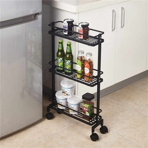 Kitchen Trolley Utility Cart Side Shelf Rolling Storage Rack Holder Removable Organizer Space Saving Storage Trolleys Bathroom