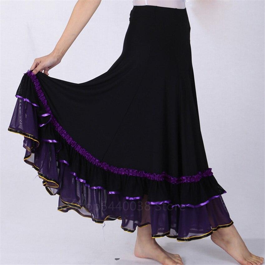 فستان اسباني الفلامنكو 6 ألوان للنساء ، تنورة رقص غجري حديثة ، ثقب مسرحي ، فستان رقص كلاسيكي طويل