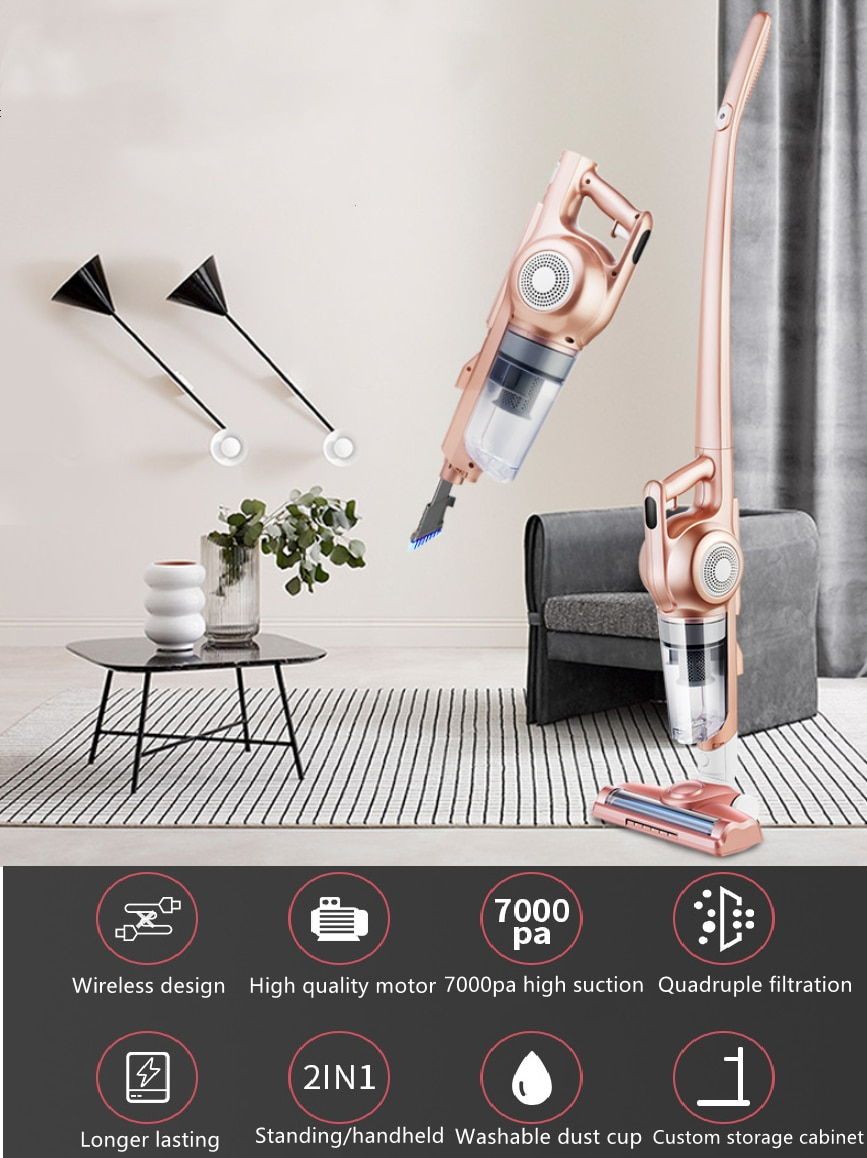 Wireless vacuum cleaner, hand-held charging, small car cordless vacuum cleaner, 7000pa, LED lighting, Quadruple filtration