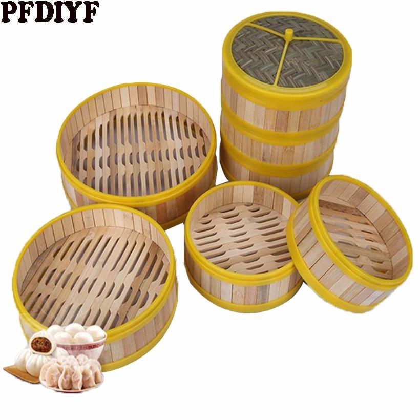 Cuiseur à vapeur en bambou   Une Cage ou couvercle de 13.5-30cm pour le poisson, le riz, les légumes panier de collation, cuiseur à vapeur avec boulettes, outil de cuisine